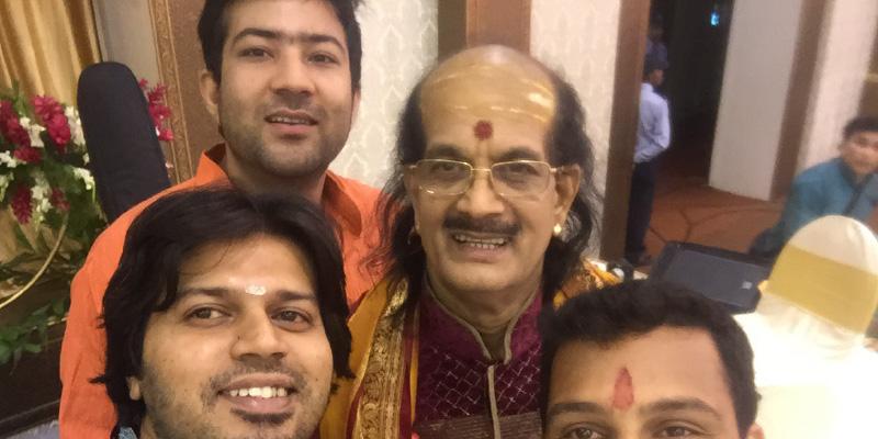 Rahul Jha (L, back) with Dr Kadri Gopalnath (R) and Kartik Mani (L, front)