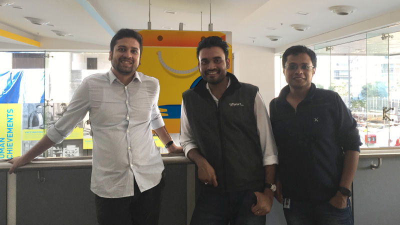 Ankit Nagori with Flipkart co-founders