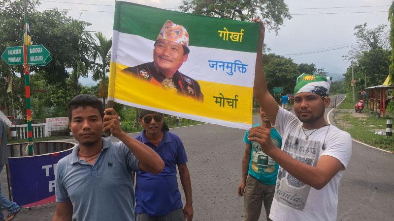 Gorkhaland agitators near Naxalbari