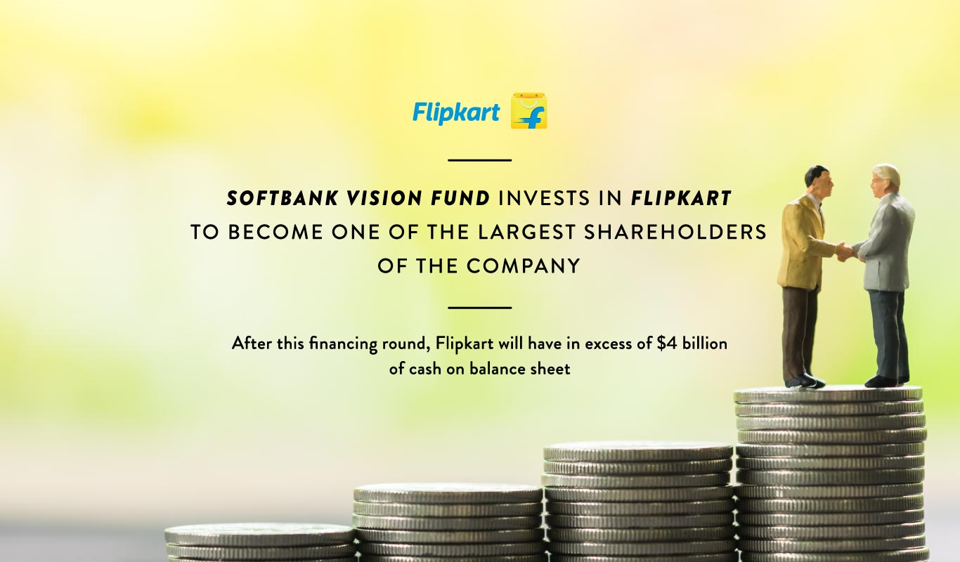 Softbank Vision Fund invests in Flipkart to become one of the largest shareholders of the company